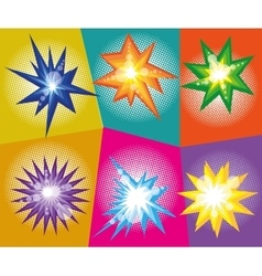 Set of abstract explosions in comic pop art vector