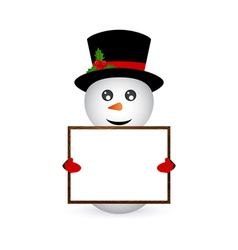 snowman holding a banner vector image
