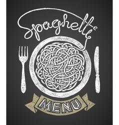 Spaghetti menu drawn on chalkboard vector