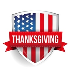 Thanksgiving on usa flag shield vector