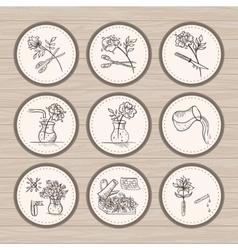 Vintage floristic icons vector