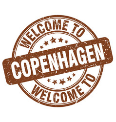 Welcome to copenhagen brown round vintage stamp vector