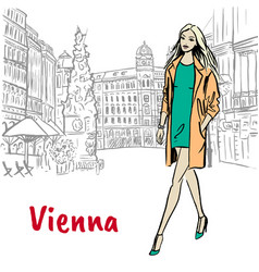 woman in vienna vector image vector image