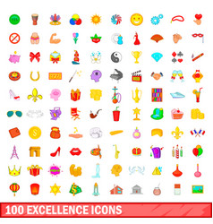 100 excellence icons set cartoon style vector