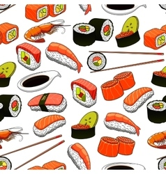 Japanese food seamless pattern background vector image