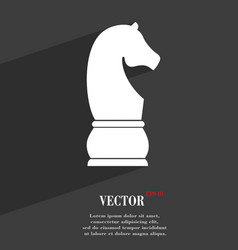 Chess knight symbol flat modern web design with vector