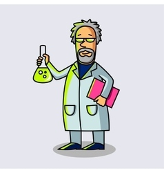 Scientist at Work with flask Cartoon character vector image