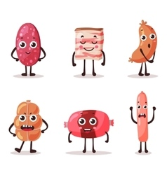 Food meat characters with cartoon faces vector