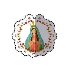 Sticker arch of leaves with virgin of guadalupe vector