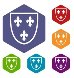 Crest icons set vector