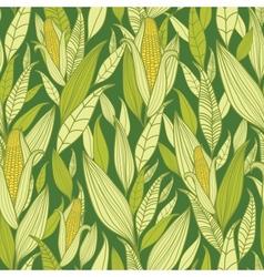 Corn plants seamless pattern background vector image