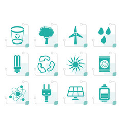 Stylized ecology energy and nature icons vector