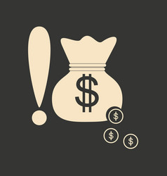 Flat in black and white bag of money vector