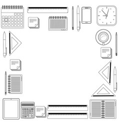 Set hand draw office tools vector