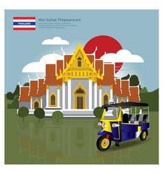 Thailand landmark and travel attractions vector