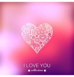 Valentines day background heart blurred template vector