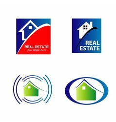Real estate and construction icons logos vector