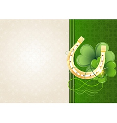Horseshoe and clover on retro background vector