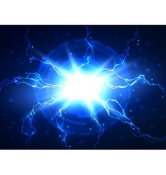 Abstract blue lightning science background vector