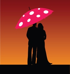 Couple with umbrella color vector