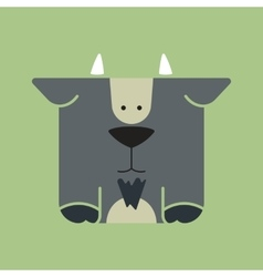 Flat square icon of a cute goat vector