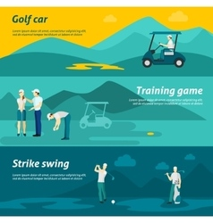 Golf flat banner set vector