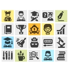 School college education set black icons signs vector