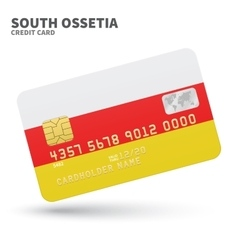 Credit card with south ossetia flag background for vector