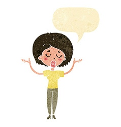 Cartoon peaceful woman with speech bubble vector