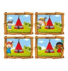 Children in indian costume by teepee vector