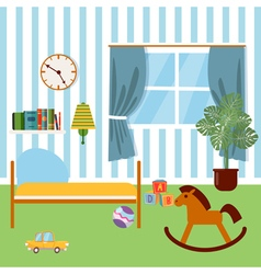 Children bedroom interior child furniture and toys vector