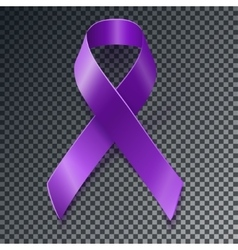 Purple awareness ribbon over geometric background vector