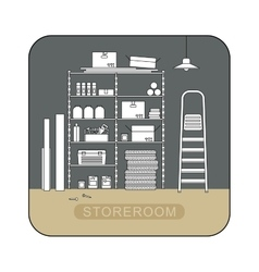 Storeroom interior with metal storage vector