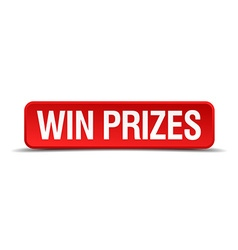Win prizes red 3d square button isolated on white vector