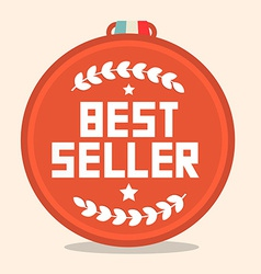 Best Seller Circle Retro Medal vector image