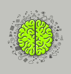 brain green icons on a white background vector image vector image