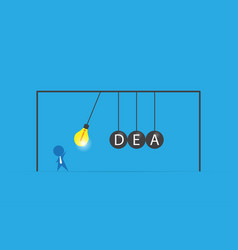 businessman with lightbulb and idea word vector image vector image