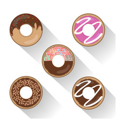 donut set with sprinkles vector image