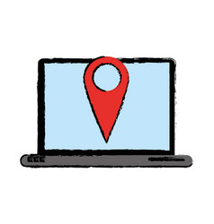 Drawing laptop pin map app gps vector