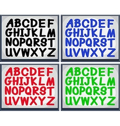 English alphabet in four colors vector image vector image