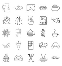 Feeding icons set outline style vector