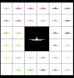 Flying plane sign front view felt-pen 33 vector
