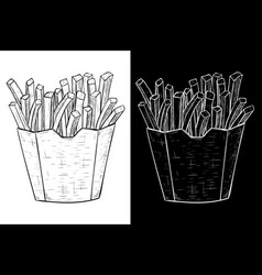 French fries in a paper cup hand drawn sketch vector