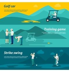 Golf flat banner set vector