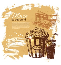 Hand drawn vintage Movie and cinema background vector image vector image