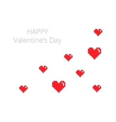 Happy Valentines Day card in pixel style vector image vector image