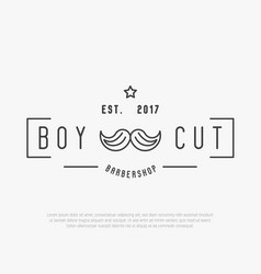 hipster logo for barber shop with mustache vector image vector image