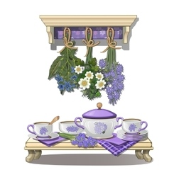 Kitchen utensils and dried flowers in purple color vector image