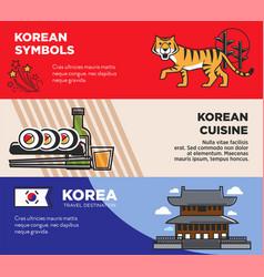 Korea travel famous landmarks and korean culture vector