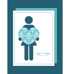 Light blue swirls damask woman in love vector